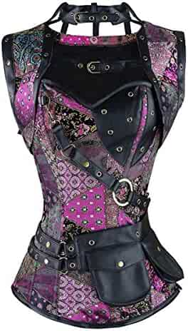 b2673ab99246a Miracle Women Steampunk Pirate Corset Vest Plus Size Overbust Bustier Top  Halloween Costumes