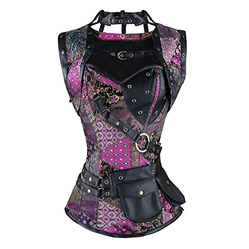 Miracle Women Steampunk Pirate Corset Vest Plus Size Overbust Bustier Top Halloween Costumes]()