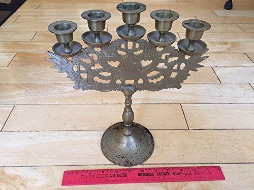 Vintage Brass Candelabra - Genric Vintage Heavy Brass Candelabra 5 Candle Holder Etched Dragons Cutout Flowers Art
