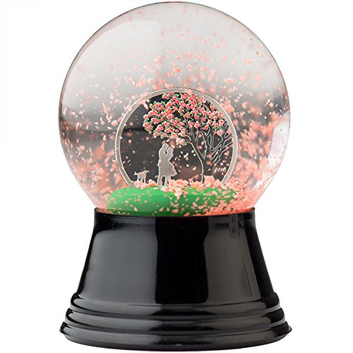 2017 CK CHERRY BLOSSOM Proof Like Silver Coin in SNOW GLOBE gift idea $1 Perfect Uncirculated