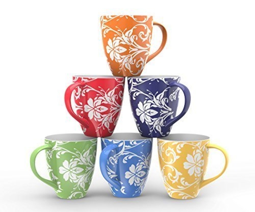 Francois et Mimi Set of 6 Large-sized 16 Ounce Ceramic Coffee Mugs (Floral) (Floral Coffee)