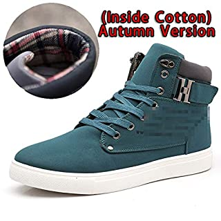 Men Shoes Front Lace-Up Casual Ankle Boots Autumn Shoes Men Wedge Fur Warm Leather Footwear,Green,10 (B07K7FH7YC) | Amazon price tracker / tracking, Amazon price history charts, Amazon price watches, Amazon price drop alerts