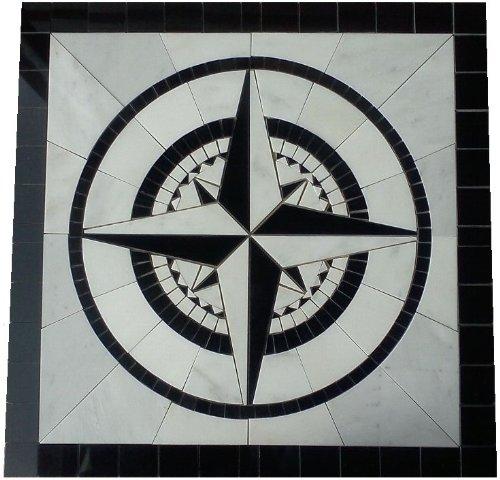 Tile Floor Medallion Marble Mosaic Black & White Compass Rose Star 36''