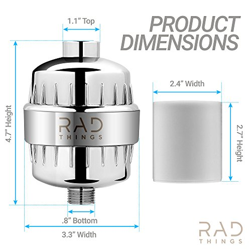 RAD Things Shower filter - Reduces chlorine - water softener and purifies for better hair and skin - safe for babies - 12 stage for all hand held and shower head systems - comes with 2 cartridges by RAD Things (Image #1)