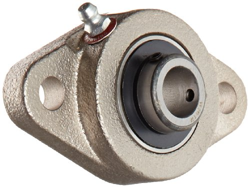 Emerson Bolt - Browning VF2S-210 NK Normal-Duty Flange Unit, 2 Bolt, Setscrew Lock, Regreasable, Contact and Flinger Seal, Nickel Plated, Inch, 5/8