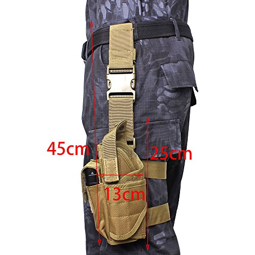 Review AIRSOFTPEAK Tactical Leg Holster Universal Pistol Drop Leg Gun Holster Adjustable Hunting Thigh Holster Left Handed with Mag Pouch, Tan
