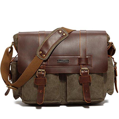 Sumolux Unisex Canvas + Leder Messenger Bag Freizeit Tasche Umhängetasche Aktentasche Armeegrün