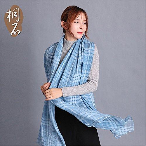 ZHANGYONG Sciarpa scialle sciarpe tutti-match inverno aria condizionata fashion Plaid scialle collare 190cm*170cm,98-1 cashmere blu 98-1 Cashmere Blu