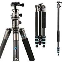 Camera Tripod ,BONFOTO Carbon Fiber Travel B674C Tripod Lightweight Heavy Duty Portable with 1/4 Quick Release Plate 360 Degree Ball Head and Carry Case for Canon Sony Nikon DSLR Cameras