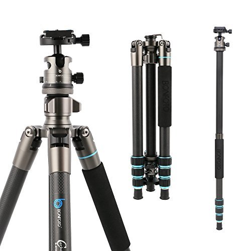 BONFOTO 674C Camera Carbon Fiber Travel Tripod Lightweight Heavy Duty Portable With 1/4