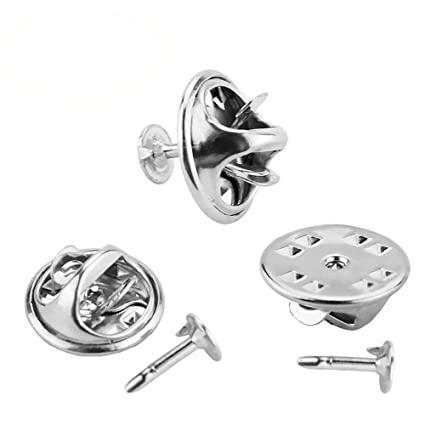 4667b545608 100 Pairs Butterfly Clutch, CBTONE Silver Metal Tie Tacks Pin Backs  Replacement with Blank Pins