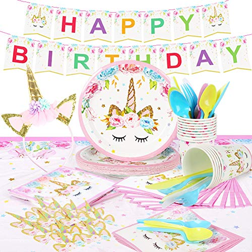 Unicorn Party Supplies Set & Tableware Kit   Birthday Decorations Bunting, Disposable Paper Plates, Cups, Napkins, Table Cloth, Cupcake Toppers, Head band - Serves 16