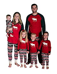 Baonmy Christmas Holiday Family Matching Sleepwear Pajamas Set Couples Pajamas
