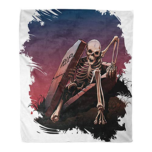 Emvency Throw Blanket Warm Cozy Print Flannel Awake Skeleton from Coffin Body Bones Dark Comfortable Soft for Bed Sofa and Couch 60x80 Inches -