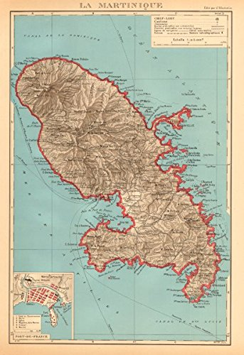 Martinique. Fort-de-France Plan. Antilles françaises French West Indies - 1938 - Old map - Antique map - Vintage map - Printed maps of French West Indies