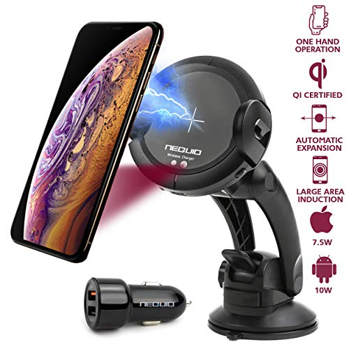 HapGo Automatic Clamping Wireless Car Charger Mount 10W//7.5W Qi Fast Charging Car Phone Holder,Windshield Dashboard Air Vent Compatible with iPhone Xs//Max//X//XR//8//8 Plus.
