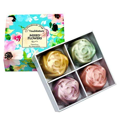 Touch Nature Mixed Flowers Handmade Soap Set- 4 pc 60g Mini Rose Shaped Soaps (Lavender, Rose, Peppermint, Lemongrass). Natural. No Parabens & Sulphates, Vegan, Cold Pressed.