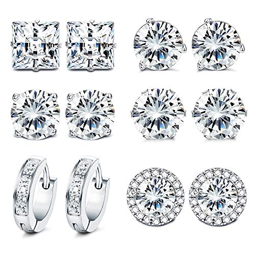 FUNRUN JEWELRY 6Pair Stainless Steel Cubic Zirconia Stud Earring for Women Men Round Square CZ Halo Stud Huggie Earrings Set White