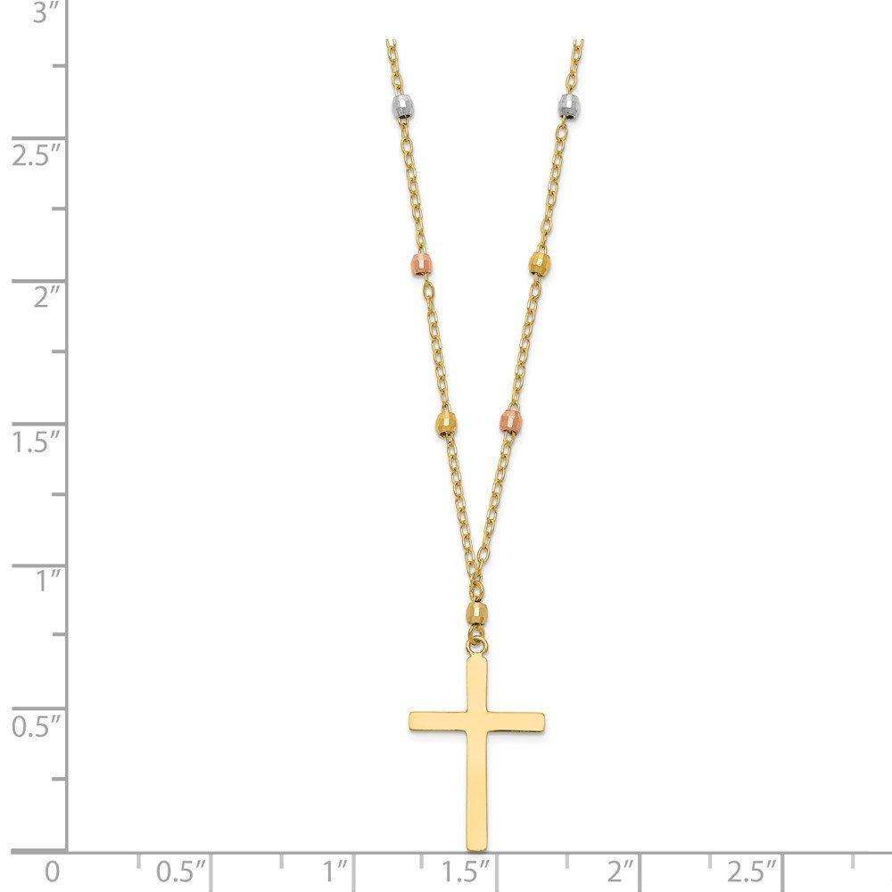 Mia Diamonds 14k GoldTri Colored Gold Diamond-Cut Beaded Cross Necklace