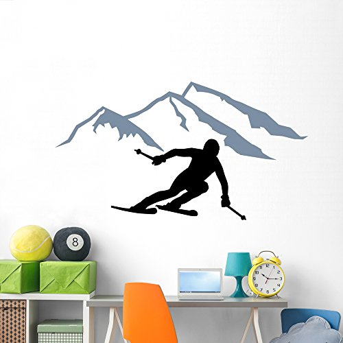 (Wallmonkeys Skier Silhouette Mountains Wall Decal Peel and Stick Graphic (72 in W x 39 in H) WM367419)
