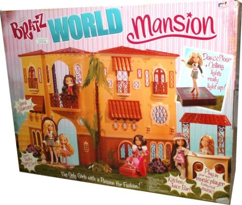 B001S6O0I8 Bratz World Mansion with Interior Lighting and Mirror Ball, 1 Tree (in 5 Pieces), 1 Staircase (in 3 Pieces), 1 Smoothie Bar (in 4 Pieces), 1 Chaise Lounge, 3 Pillows, 1 Lighted Dance Floor, 1 Balcony, 1 Tabletoop Barbeque/DJ Scratch Deck, 1 She