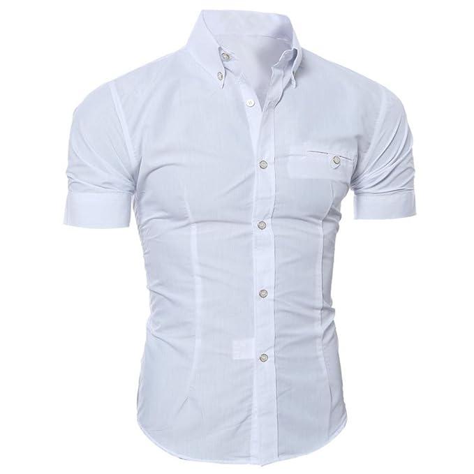 HUI Camisa t-Shirt tee Tops Blusa Hombre Personalizada Casual Manga Corta, Camiseta Cómoda con Color Puro Band Botón Mezcla de Algodón Carisma Camisas: ...