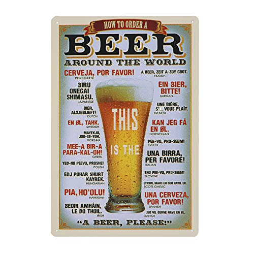 hai dou ya Beer Around The World Vintage Metal Tin Sign Wall Plaque Poster Cafe Bar Pub Beer Wall Home Decor 12 X 8 Inches