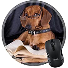 MSD Natural Rubber Mousepad Round Mouse Pad/Mat: 10142599 puppy purebred dachshund