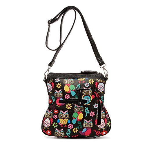 Black Over Colorful Top Satchel Bag Handle Print Owl All qqpt14w
