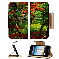 Garden Japanese Kyoto Nature Scenery Apple iPhone 5 / 5S Flip Cover Case with Card Holder