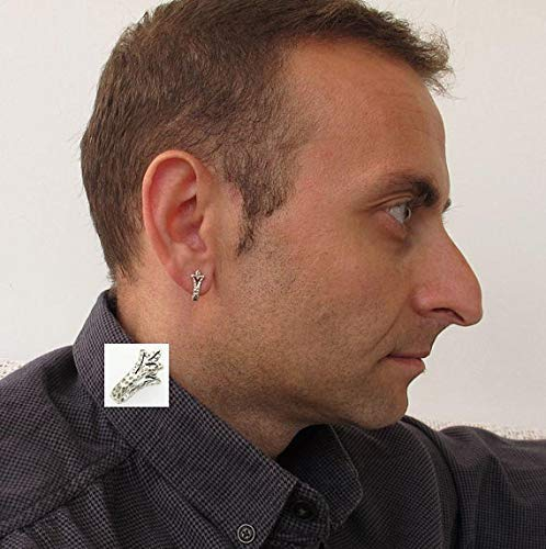 35f4bb0362e886 Image Unavailable. Image not available for. Color: Silver Mens Stud Earring  - Lily Flower Earring for men ...