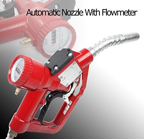 Fuel Gasoline Diesel Petrol Delivery Refill Gun Nozzle Dispenser W/Flow Meter -