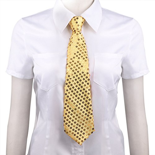 Magic Tie - MSemis Unisex Neck Tie Pre Tied Sequins Solid Color Sequined Tie with Elastic Gold One Size