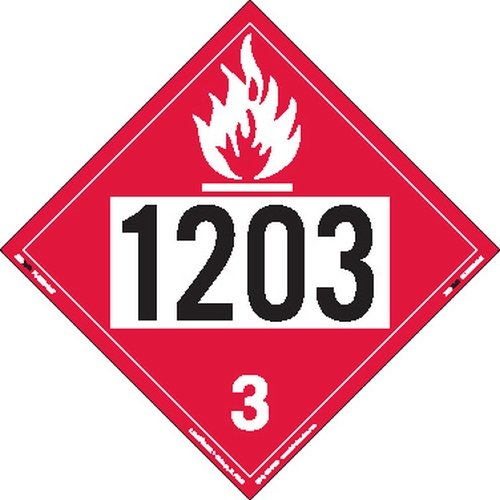 Labelmaster ZT2-1203 UN 1203 Flammable Liquid Hazmat Placard, Tagboard (Pack of 25)
