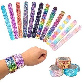FROG SAC 12 PCS Glitter Slap Bracelets for Kids Girls, Safe Suede Backing, Girls Glitter Princess Theme Birthday Party Favors & Supplies, Sparkly Snap Bracelet Set, Easter Basket Stuffers, Goodie Bag Fillers