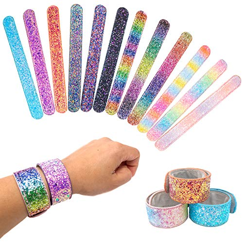 12 Glitter Slap Bracelets for Kids Girls & Women, Safe Suede Backing, Girls Glitter Princess Theme Birthday Party Favors & Supplies, Sparkly Snap Bracelet Set, Holiday Stuffers, Goodie Bag Fillers -