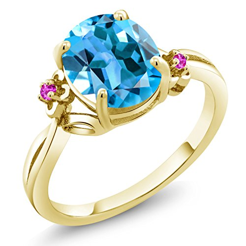 2.74 Ct Oval Swiss Blue Topaz Pink Sapphire 18K Yellow Gold Plated Silver Ring (Size 7)