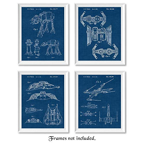 Vintage Star Wars Patent Poster Prints, Set of 4 Photos (8×10) Unframed, Wall Art Decor Gifts Under 20 for Home, Office, Studio, Garage, Man Cave, College Student, Teacher, Comic-Con & Movies Fan