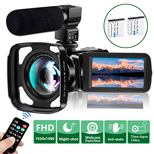Video Camera Camcorder with Microphone, VideoSky FHD 1080P 36MP 30FPS IR Night Vision Vlogging Digital Cameras Webcam Recorder for YouTube with Wide Angle Lens,Remote,3.0 inch Touch Screen,Lens Hood from VideoSky