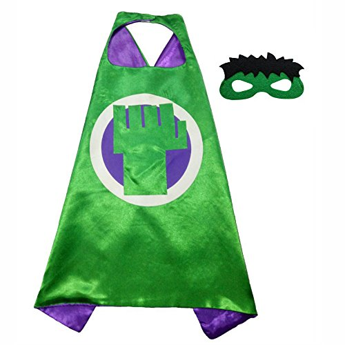 Incredible Costume Hulk Girl (FASHION ALICE Superhero Superman Cape & MASK SET Adult, Mens, Womens Halloween Costume Cloak Kids Girl And Boy Cape and Mask Costume for Child,Pretend Play, Dress Up,Parties (Incredible)
