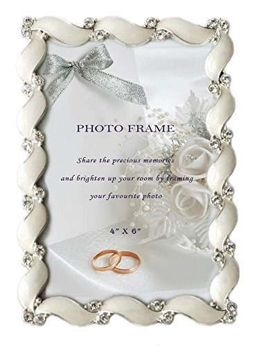 L&T Waves design Cream White Enamel Picture Frame Metal with Silver Plated and Crystals 4 x 6 inch