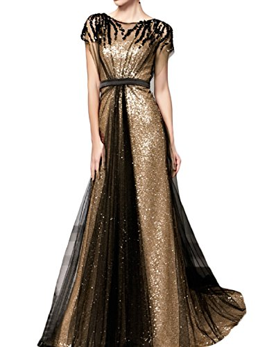 OYISHA Womens Long Sequins A-Line Evening Dress Formal Gowns With Sleeves 3SQ Gold Black 16