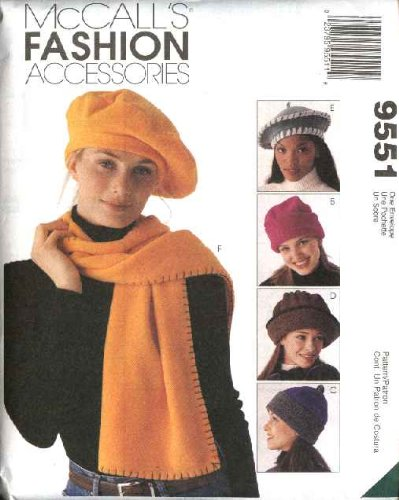 (Hats And Scarves McCall's Fashion Accessories Sewing Pattern 9551)