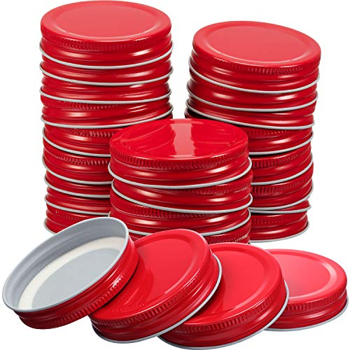 Chuangdi 30 Packs Mason Jar Lids Regular Mouth Leak Proof Secure Mason Storage Solid Caps (Red)