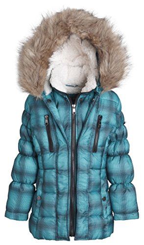 Steve Madden Girl Winter Down Alternative Hooded Short Bubble Puffer Jacket Coat - Teal Check Print Plaid (Size 6X)