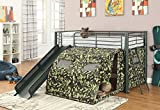 1PerfectChoice Oates Fun Youth Boys Kids Bedroom Loft Bed Tent Slide Ladder Metal Frame Black