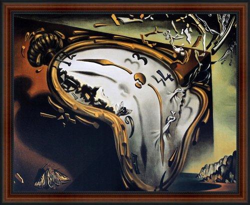 (The Melting Watch by Salvador Dali. Framed Art Print Poster. Custom Made Real Wood Dark Walnut with Black Trim Frame (22 1/4 x 18 1/4))