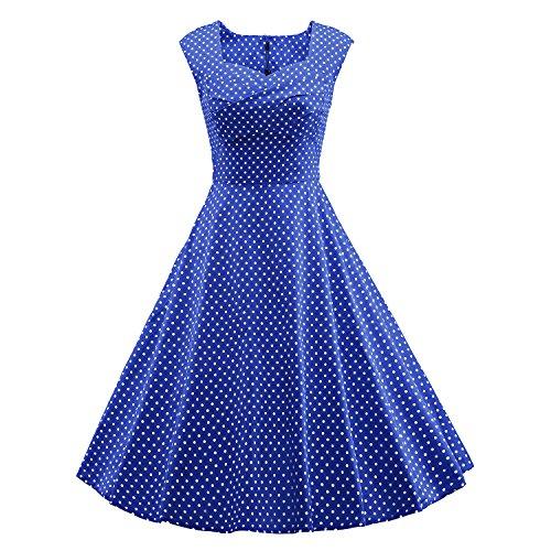 LUOUSE vestidos 1950 Retro Rockabilly vintage cuello cuadrado V066-Azul2