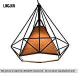 Vintage Ceiling Light 25cm Modern Diamond Shape Pendant Light Geometric Cage Ceiling Chandelier (balck+brown shade)