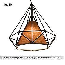 Vintage Ceiling Light 25cm Modern Diamond Shape Pendant Light Geometric Cage Ceiling Chandelier (balck+brown shade)